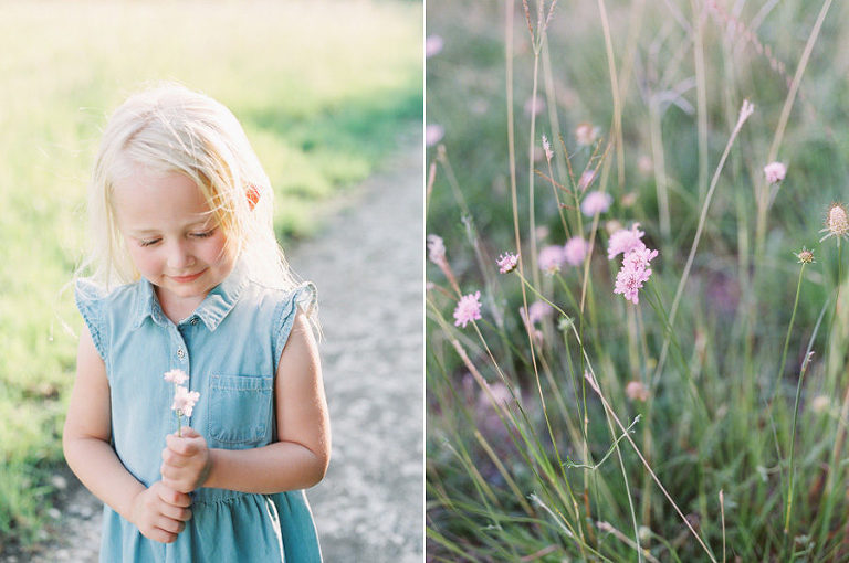 Outdoor Film Photograph of a little girl picking wildflowers at Arbor Hills Nature Preserve in Plano, TX by Rachel DeBell Photography.