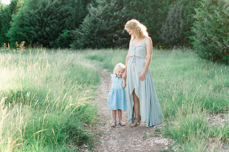 Outdoor Motherhood Film Photograph of a Mother and her daughter at Arbor Hills Nature Preserve in Plano, TX by Rachel DeBell Photography.